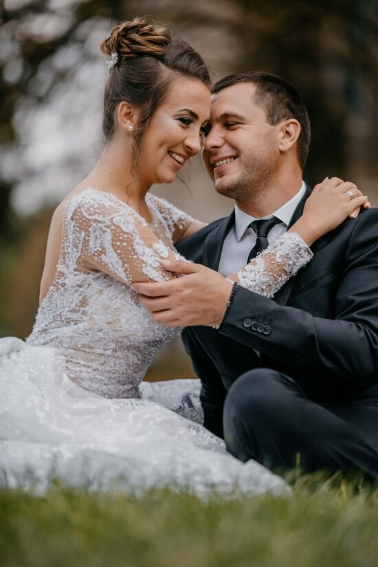 just married, grass, sitting, tenderness, affection, wedding, man, love, bride, couple