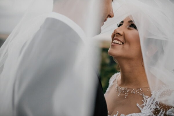 veil, bride, woman, person, marriage, love, face, groom, wedding, fashion