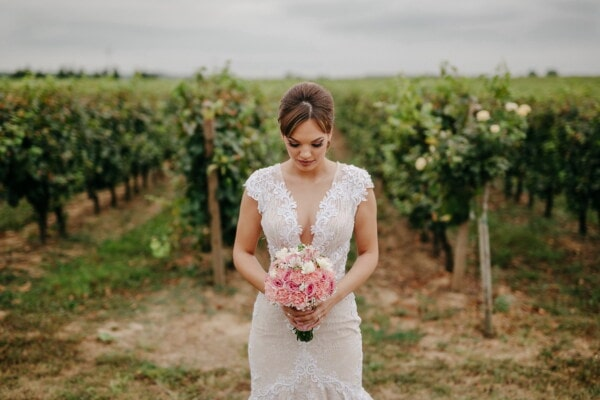 gorgeous, bride, brunette, wedding bouquet, wedding dress, standing, vineyard, wedding, girl, dress