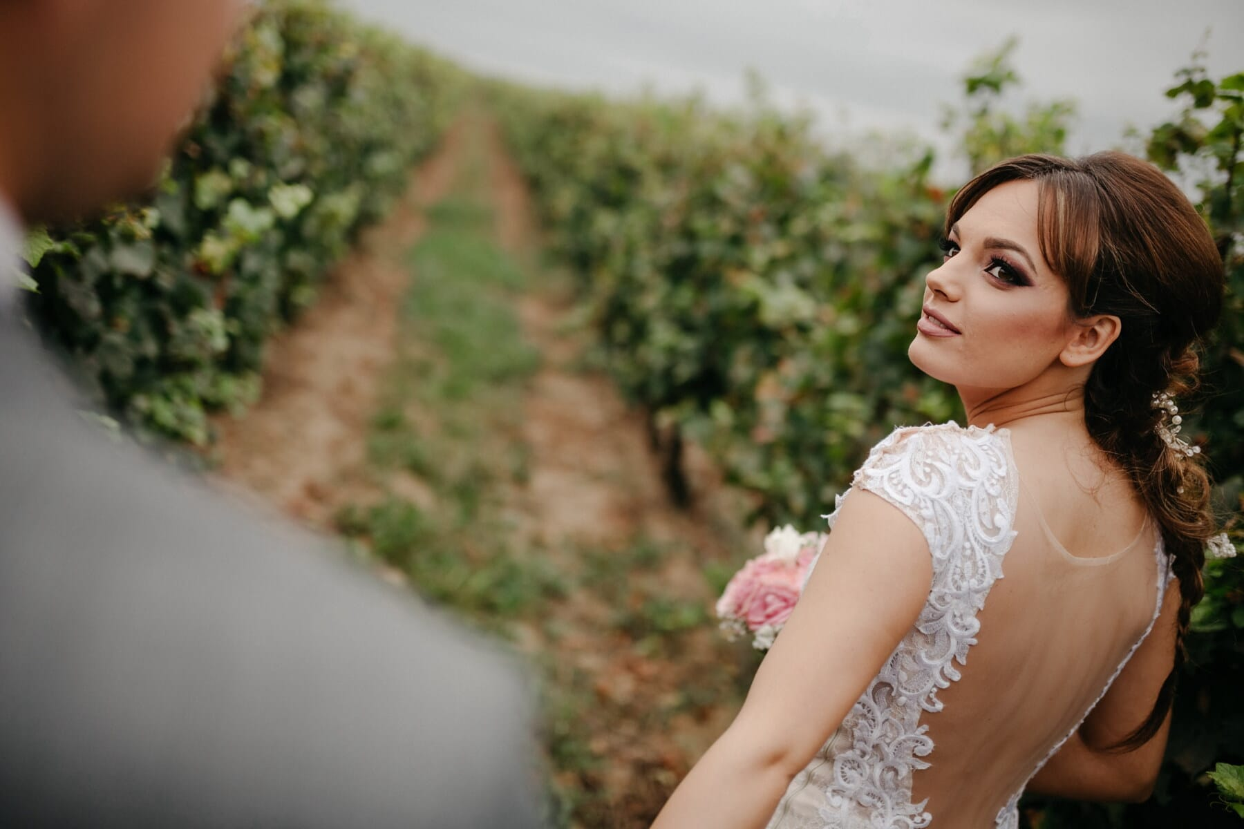 young woman, orchard, vineyard, bride, attractive, woman, wedding, nature, pretty, portrait