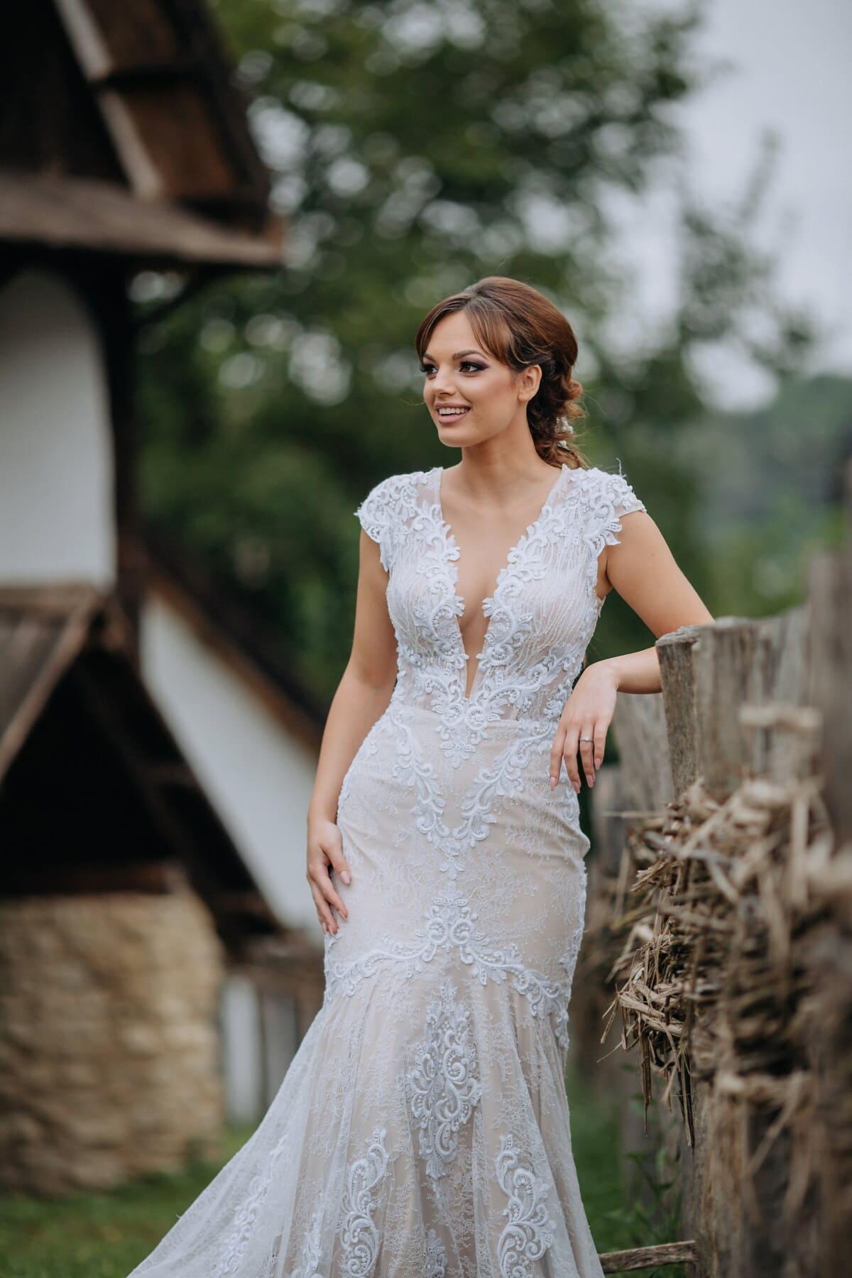 gorgeous, countryside, brunette, village, farmhouse, cottage, picket fence, girl, model, fashion