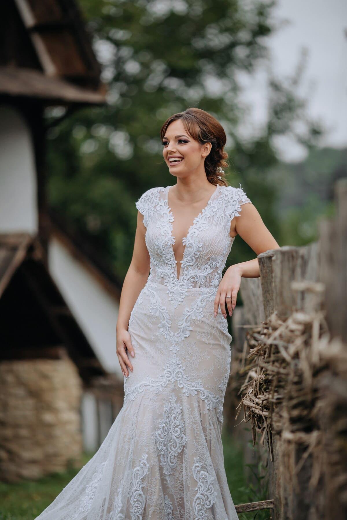 countryside, cottage, village, wedding dress, picket fence, model, fashion, wedding, dress, portrait
