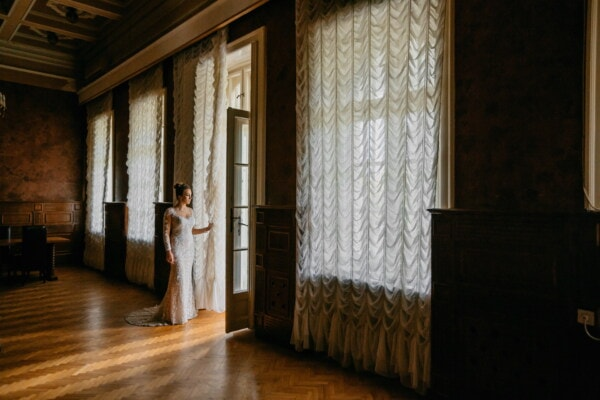 baroque, style, lady, windows, door, indoors, room, window, house, home