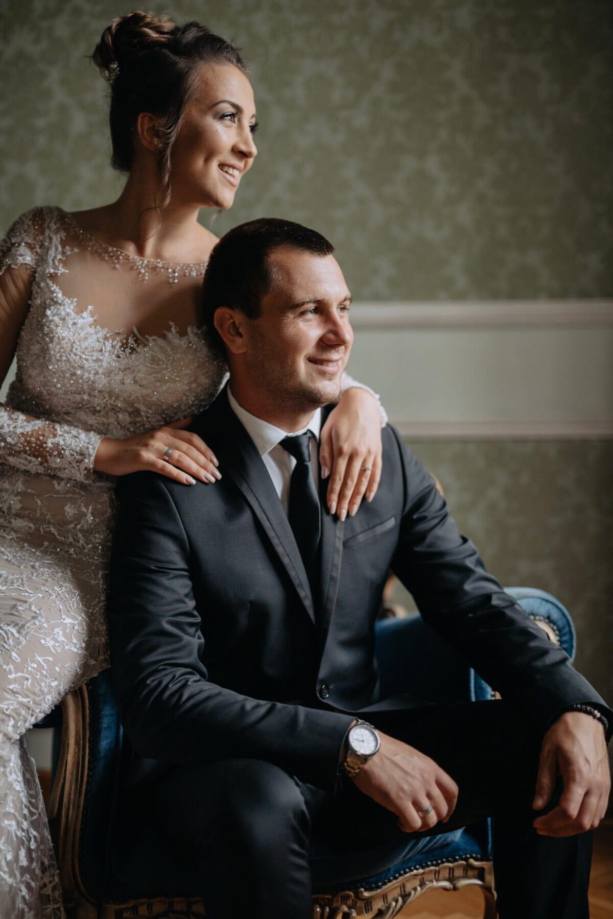 husband, wife, fancy, dress, posing, tuxedo suit, sitting, armchair, glamour, suit