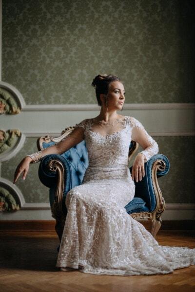 sedící, žena, ozdobný, styl, křeslo, nábytek, salon, luxusní, barokní, šaty