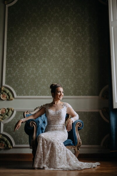 smiling, lady, armchair, sitting, luxury, salon, living room, baroque, portrait, woman