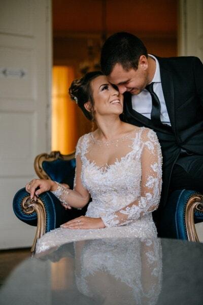 夫, 新婚, 妻, 花婿, ファンシー, 花嫁, 高級, 肘掛け椅子, 結婚式, 女性