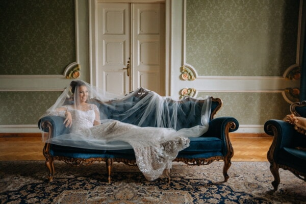 bride, laying, couch, baroque, sofa, lifestyle, fancy, room, interior, home