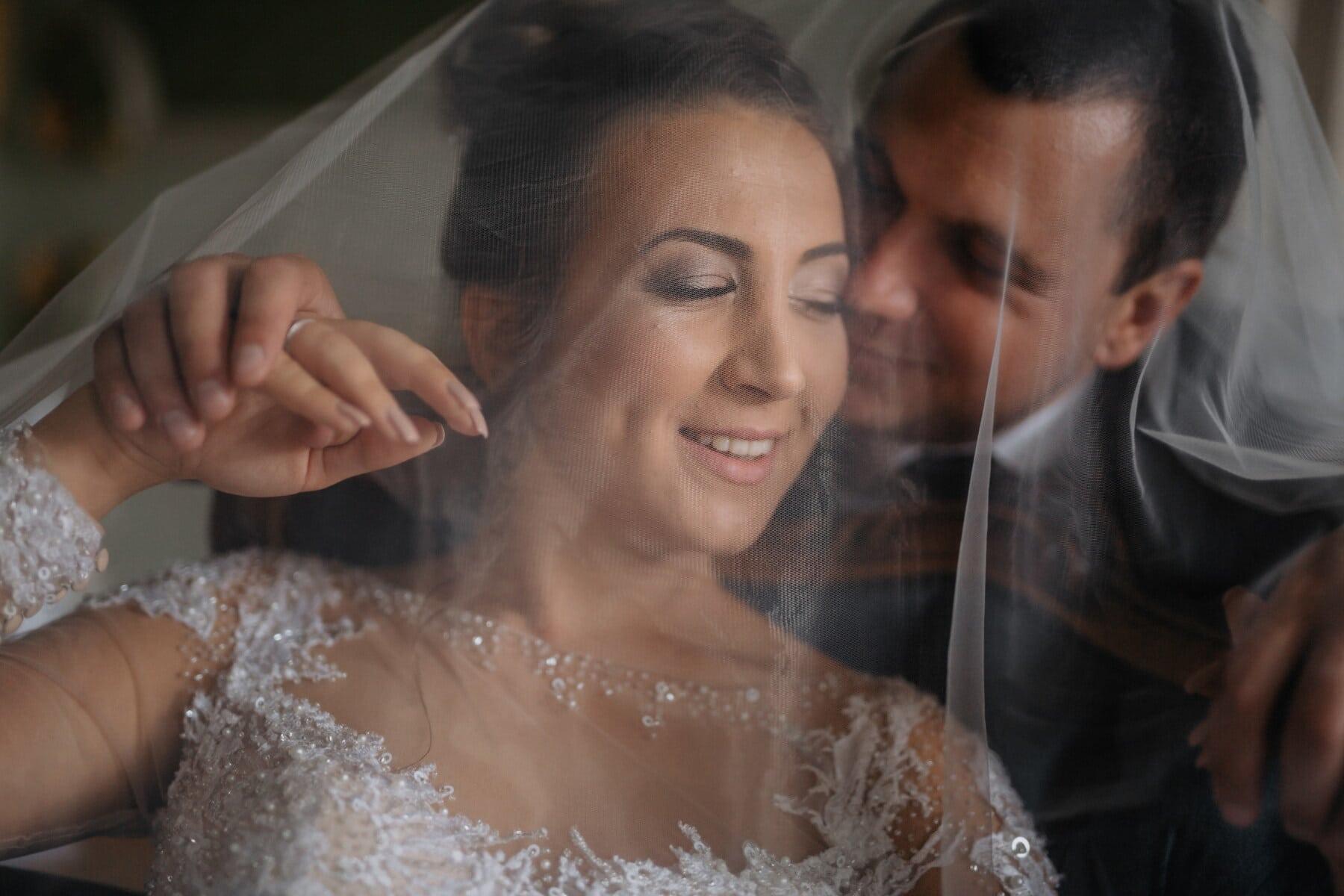 genêt à balais, la mariée, baiser, voile, en dessous, jeune marié, mariage, femme, amour, cérémonie