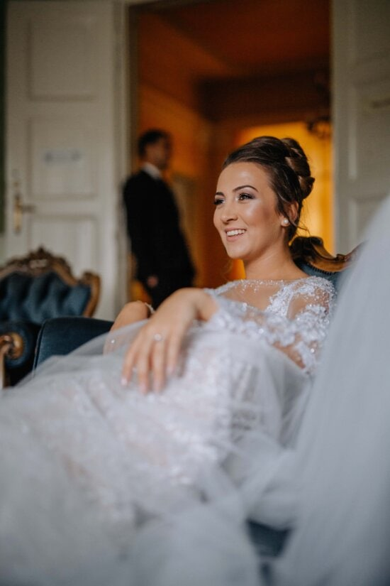 fancy, lady, laying, sofa, smiling, living room, indoors, love, marriage, wedding