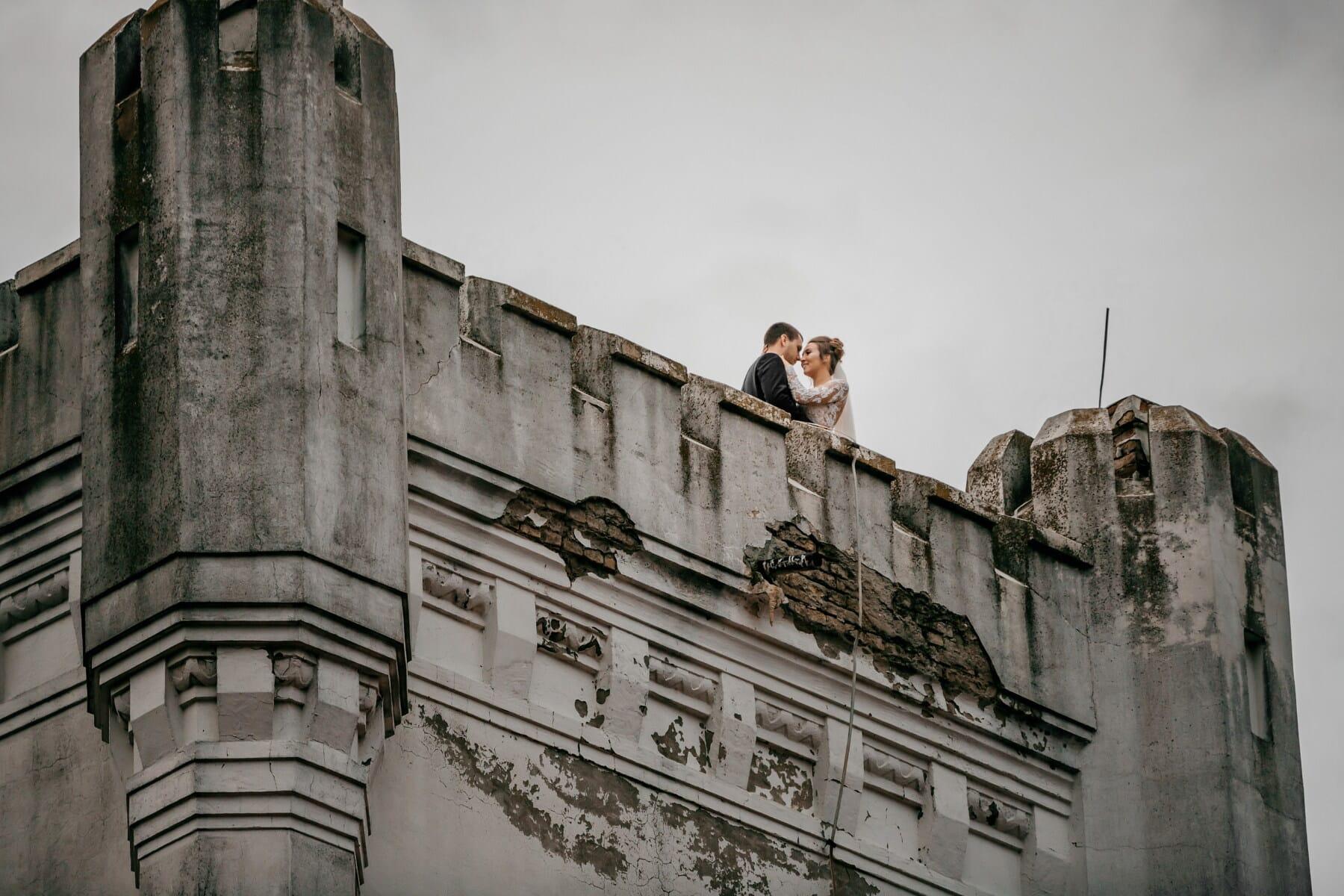 Prins, prinsesse, tårnet, slottet, kyss, romantisk, festning, middelalderen, arkitektur, bygge