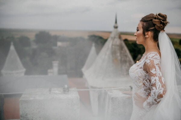 princess, medieval, castle, tower, dress, veil, woman, married, fashion, people