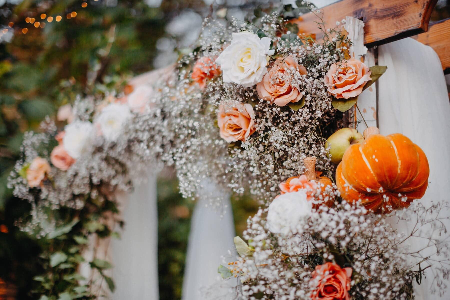 wedding venue, autumn season, flower garden, pumpkin, bouquet, decoration, leaf, flower, outdoors, garden