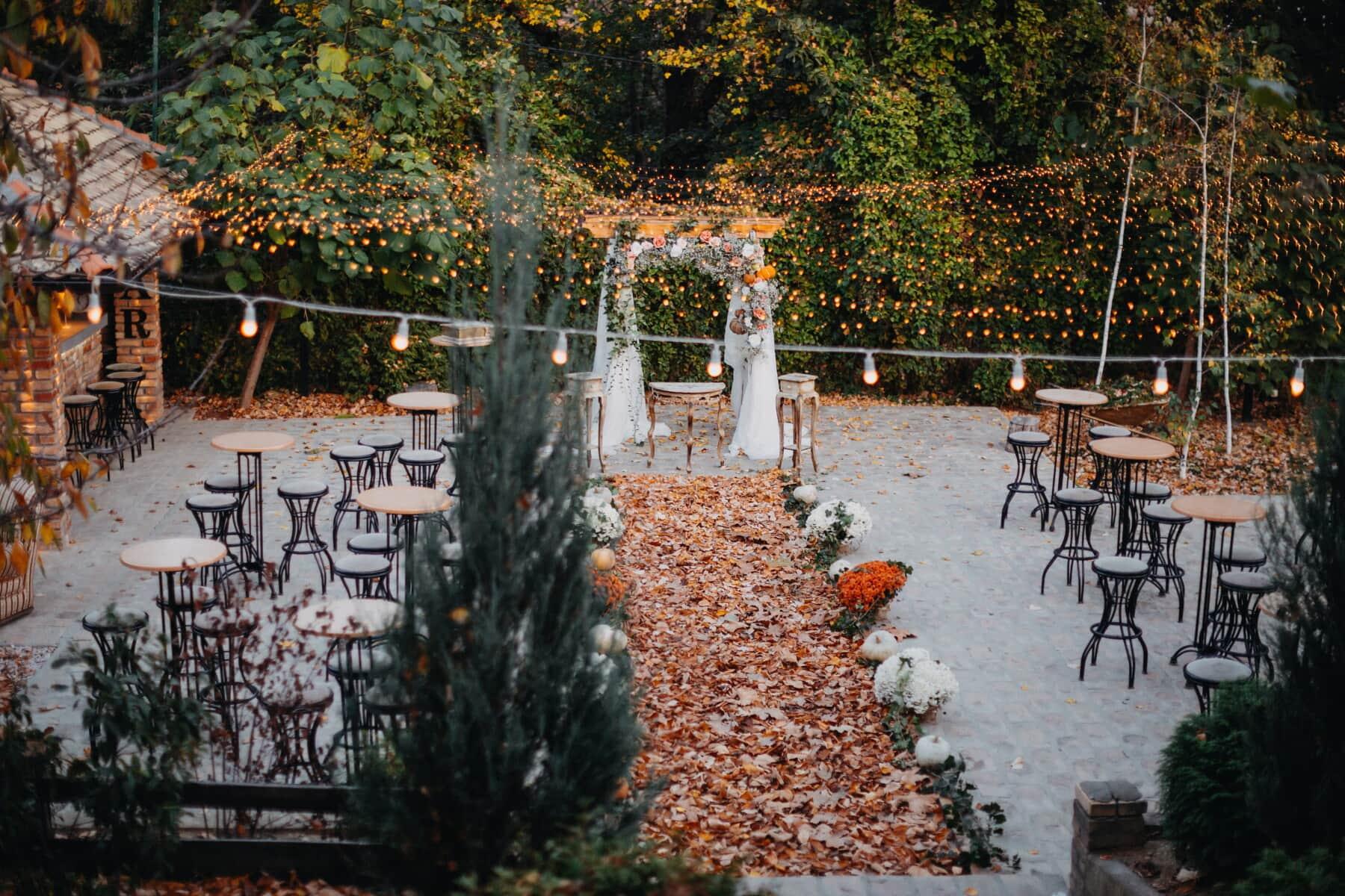 wedding venue, backyard, cafeteria, furniture, garden, decoration, light bulb, tree, outdoors, nature