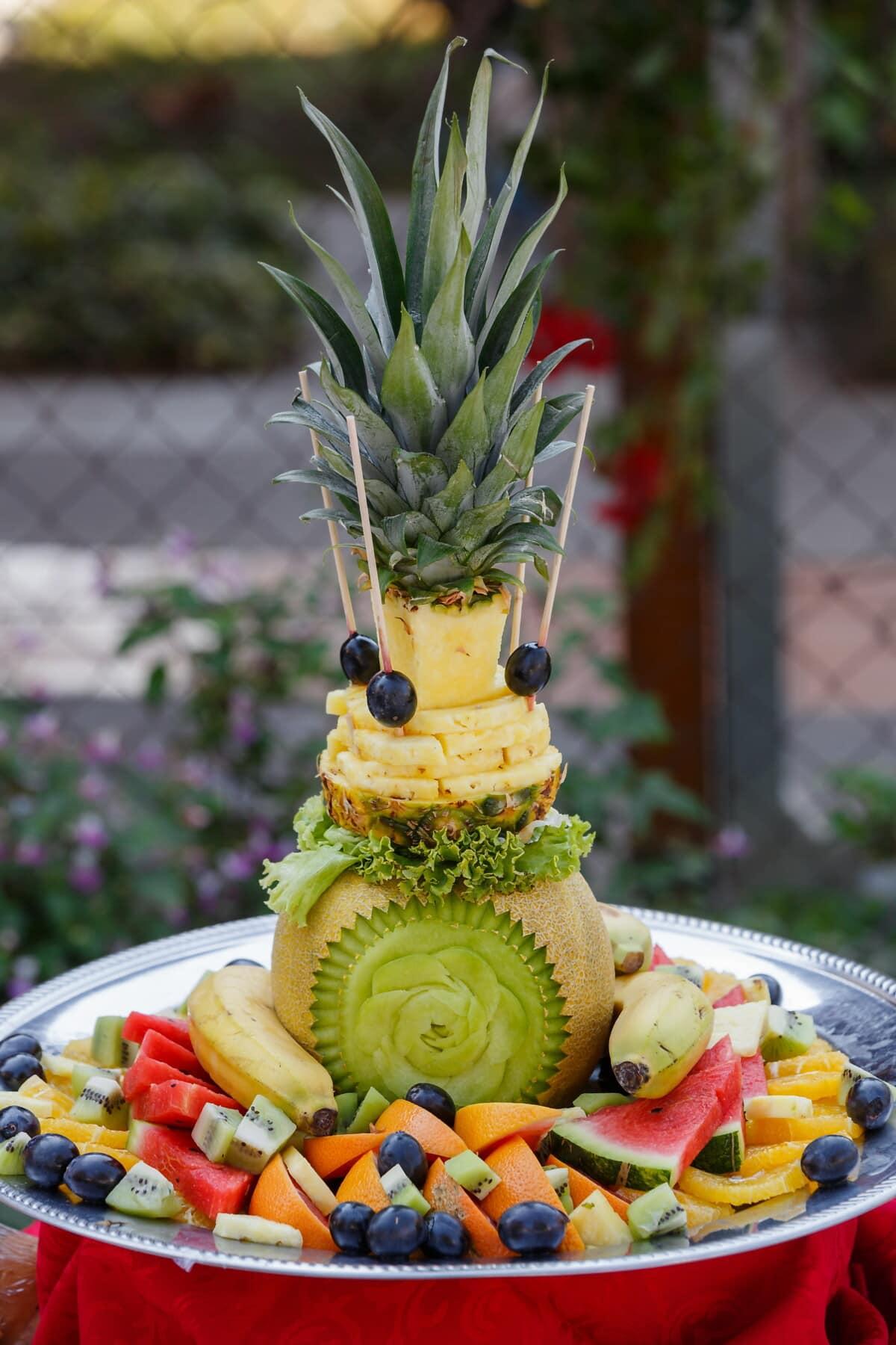 ananas, sculptures, melon d'eau, Kiwi, banane, les raisins, décoration, fruits, produire, alimentaire