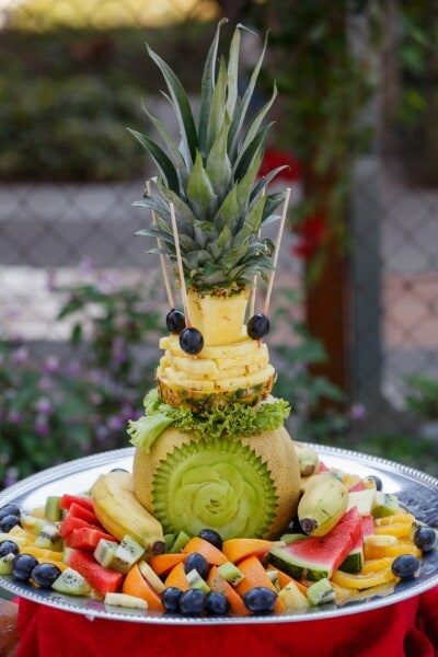 pineapple, carvings, watermelon, kiwi, banana, grapes, decoration, fruit, produce, food