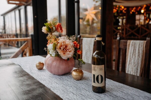 cafeteria, restaurant, red wine, bouquet, vase, table, wine, container, bottle, interior design