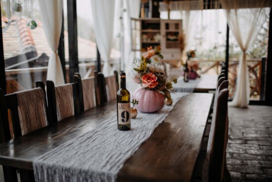 cafeteria, interior decoration, restaurant, vintage, chairs, table, bottle, red wine, wood, furniture