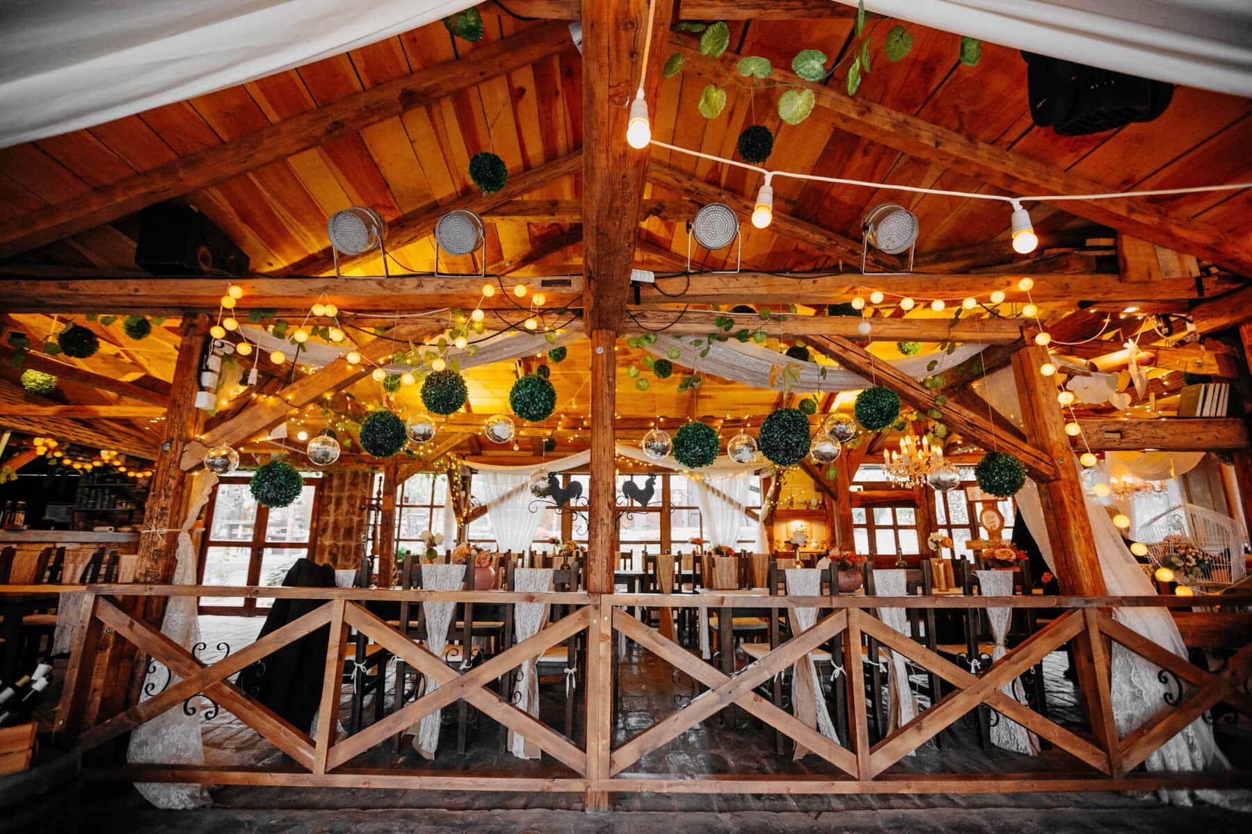 Cottage, salle de mariage, cafétéria, restaurant, bois, vieux, architecture, traditionnel, en bois, construction