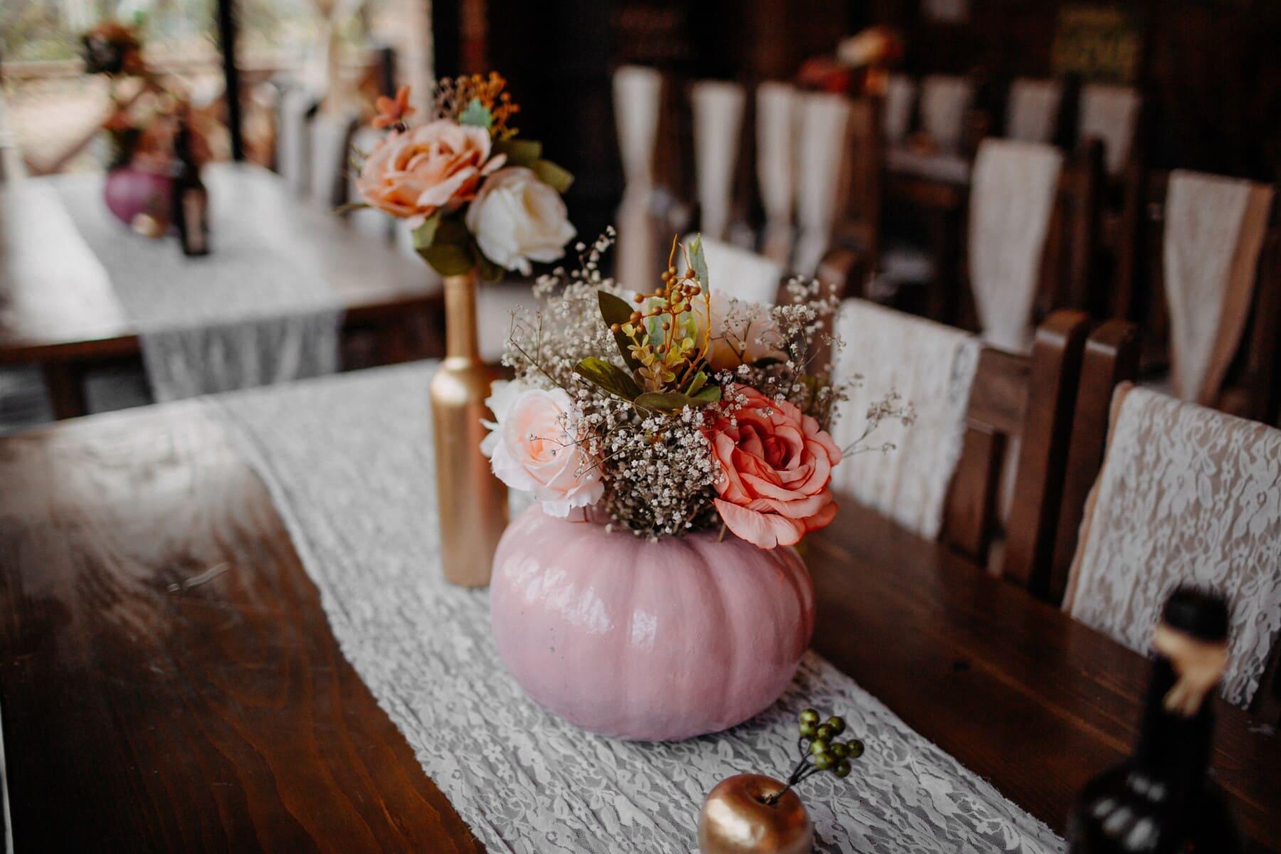 Cafeteria, Schüssel, Vase, Innendekoration, Stühle, Tabelle, Tischdecke, Interieur-design, Holz, Still-Leben