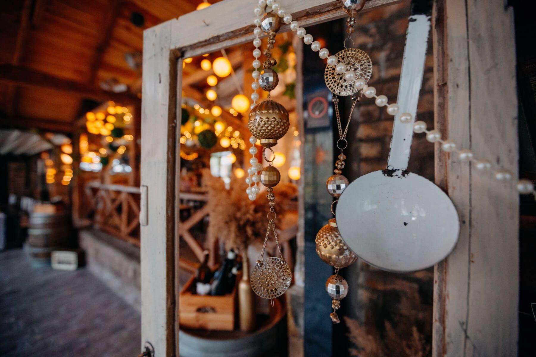 Design d'intérieur, ornement, ornementales, vintage, décoration d'intérieur, objet, suspendu, Metal, en laiton, vieux