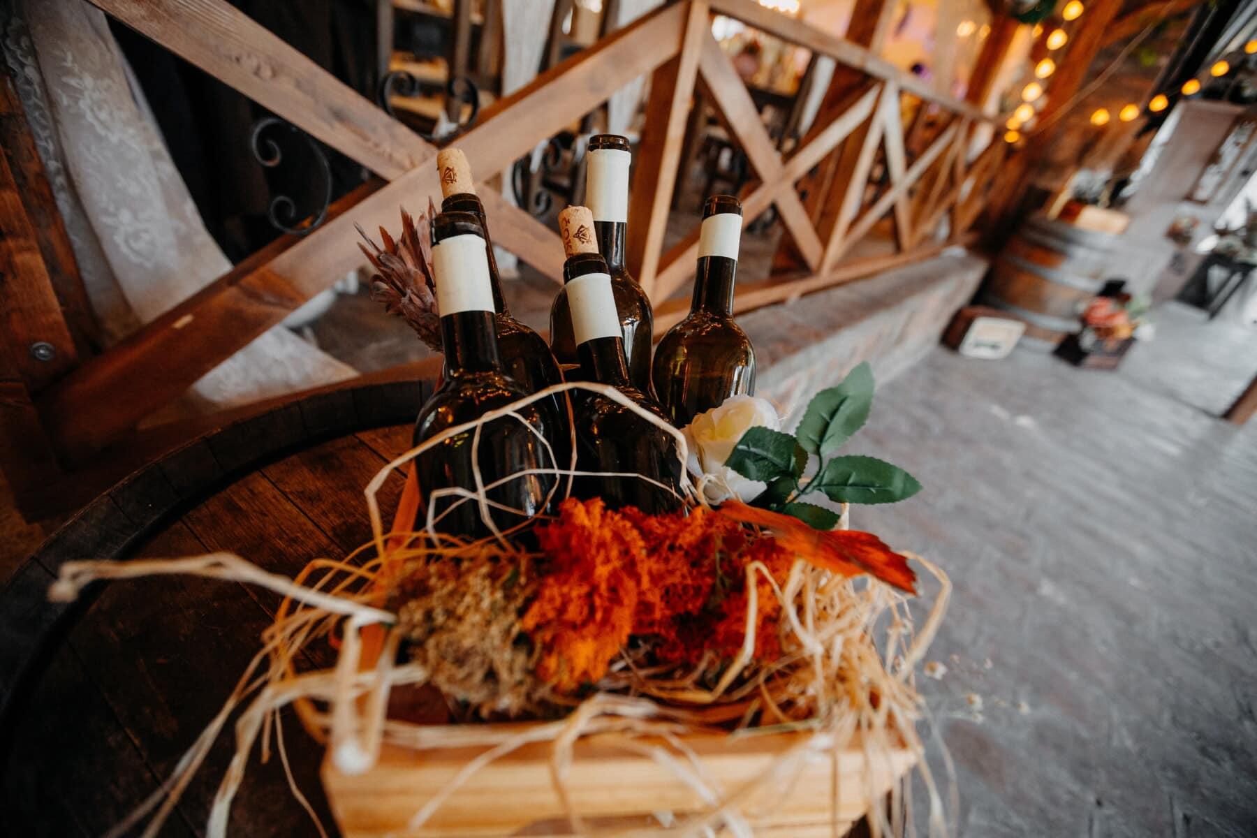 vin, bouteilles, vinicole, restaurant, bois, nature morte, bouteille, verre, boisson, à l'intérieur
