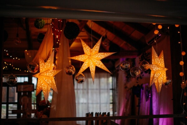 stars, decoration, interior design, decor, evening, room, atmosphere, illumination, hanging, ornament