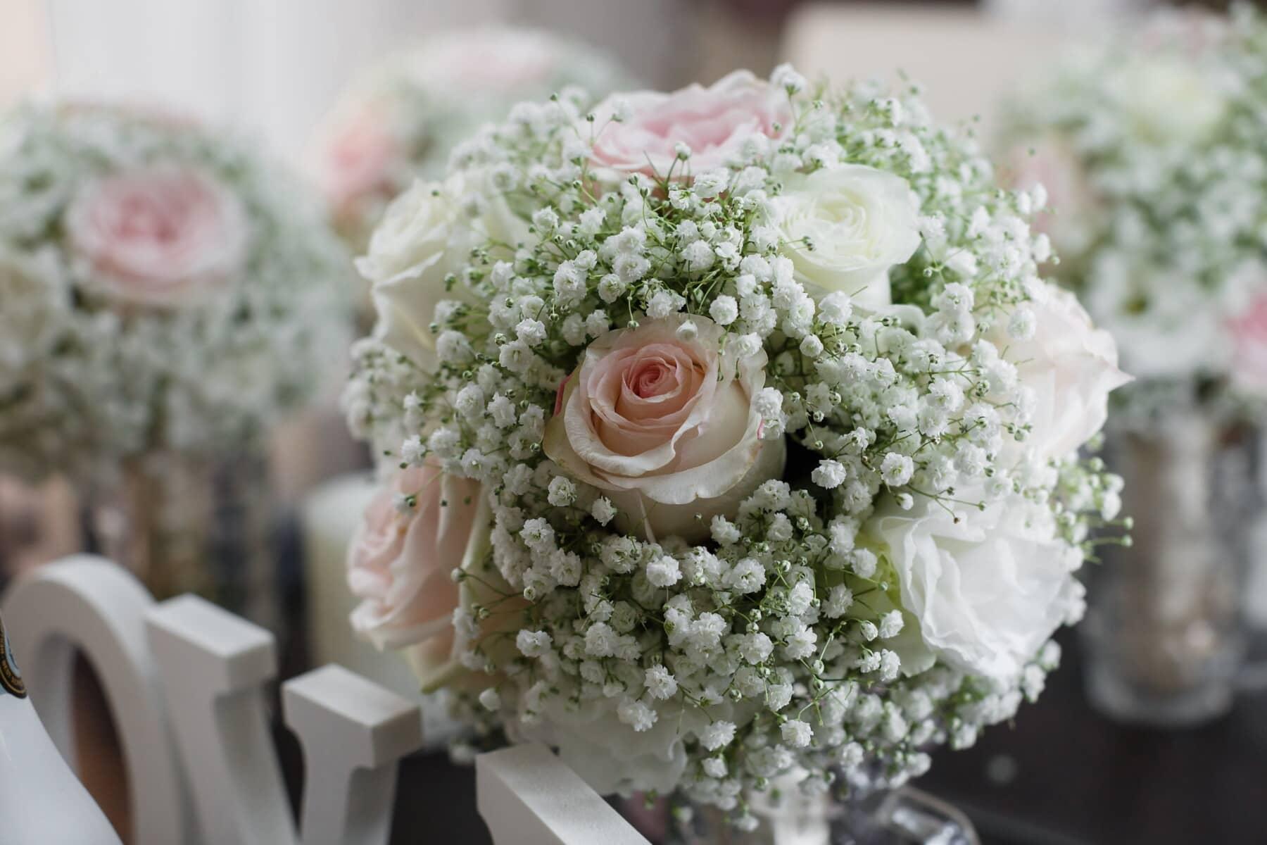 fantaisie, blanc, bouquet, nature morte, des roses, rosâtre, romance, arrangement, fleur, décoration