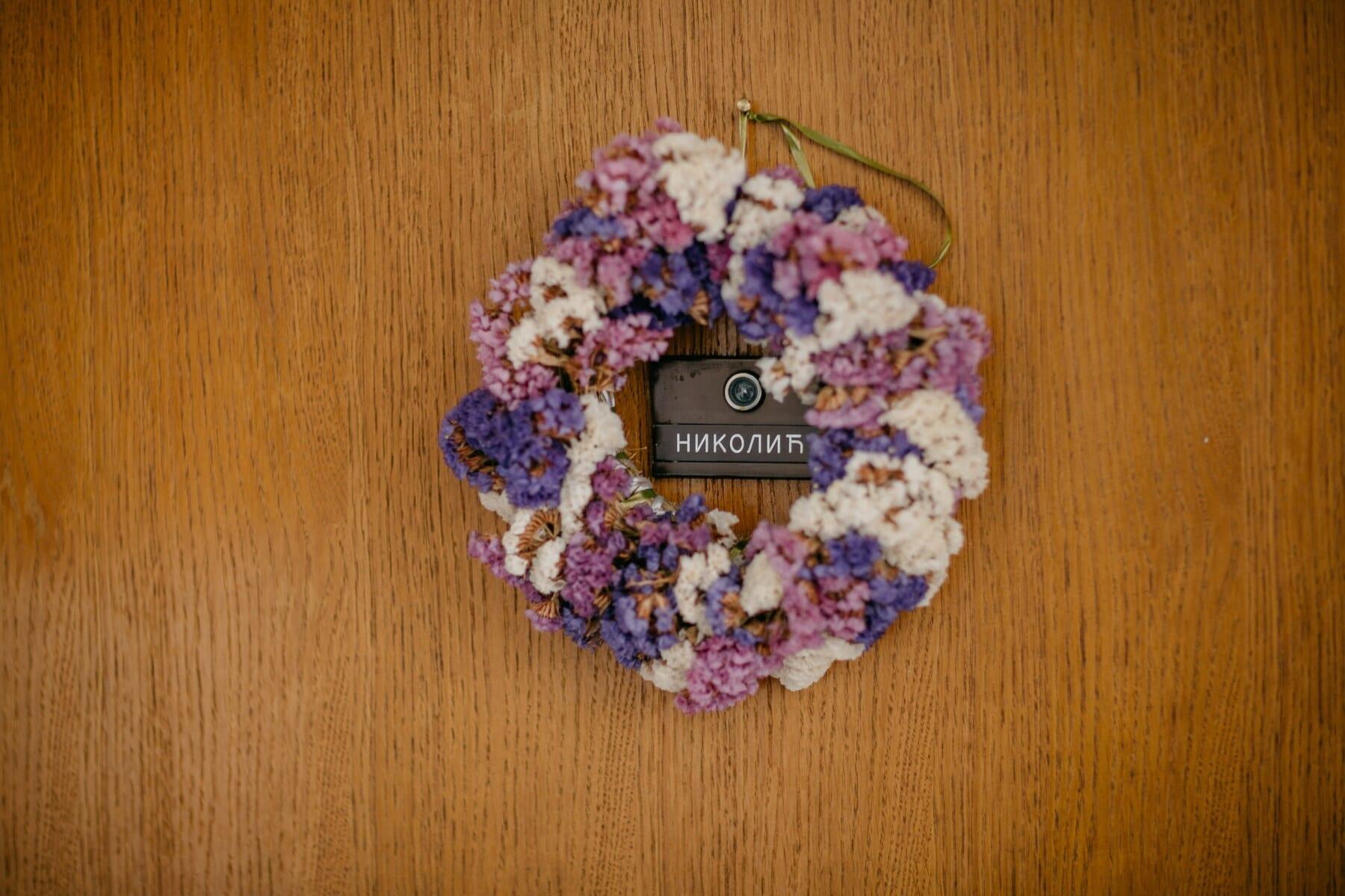 front door, name, family, sign, address, text, door, wood, flower, wooden