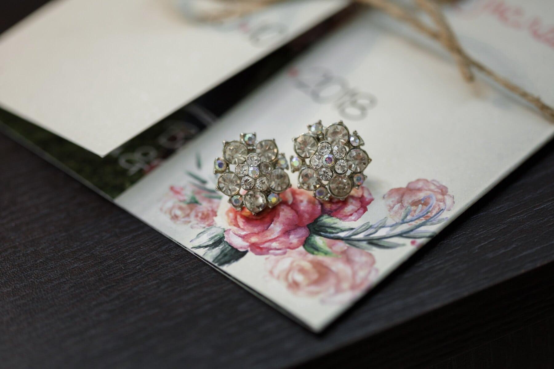 brillante, Ohrringe, Diamant, Luxus, Karten, Geschenke, Tabelle, Still-Leben, Schmuck, Geschäft