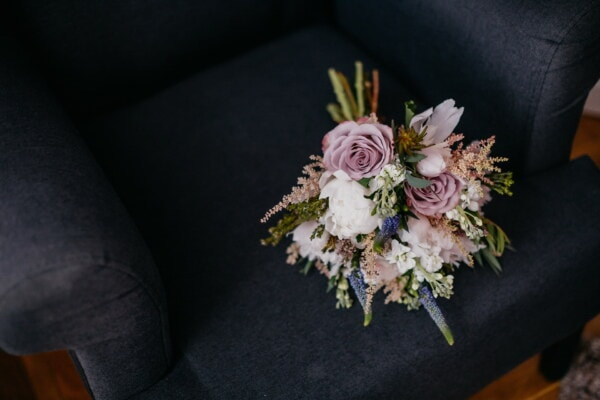 fancy, armchair, flowers, bouquet, arrangement, love, flower, decoration, rose, still life