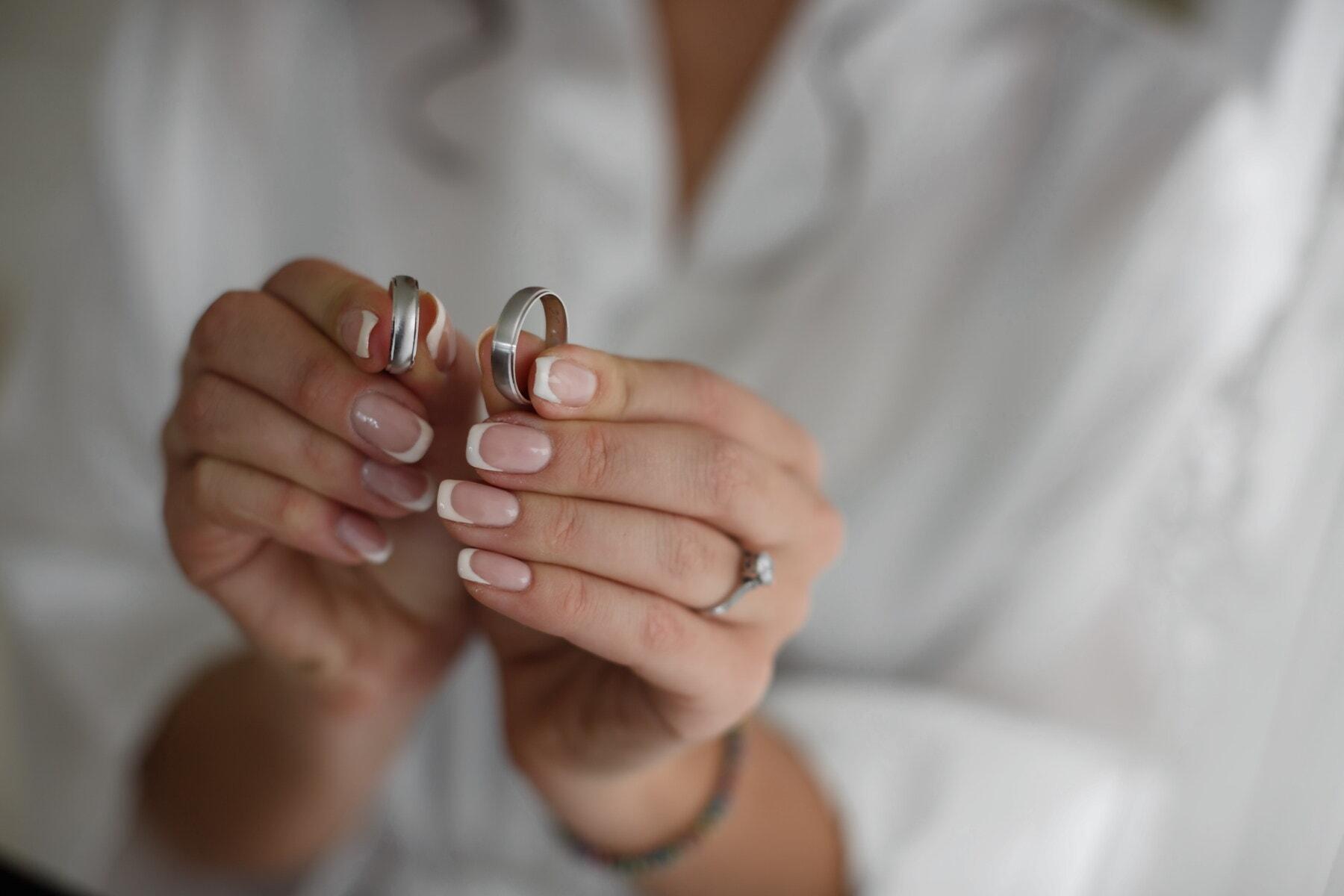 Lust auf, Hände, Ehering, Maniküre, Ringe, goldener Schein, Schmuck, Frau, Finger, Hand