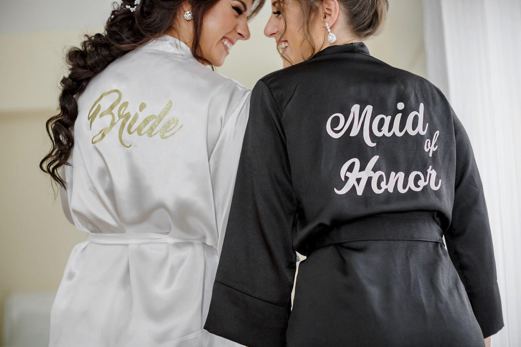 Trauzeugin, Brautjungfer, Braut, Freundin, schwarz und weiß, glücklich, Freundschaft, Mode, Person, Frau