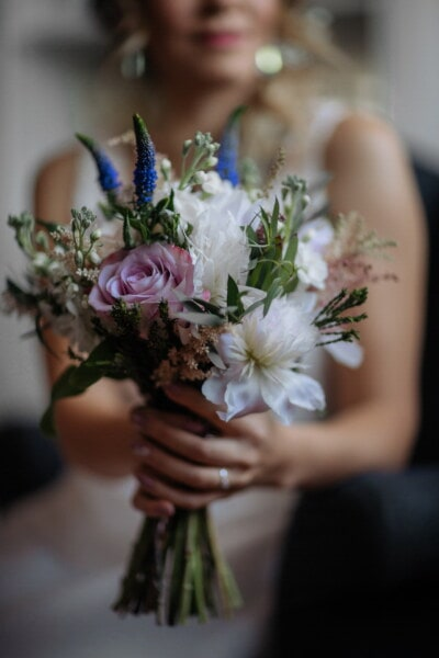 bouquet, flowers, holding, gorgeous, girl, flower, woman, arrangement, decoration, people