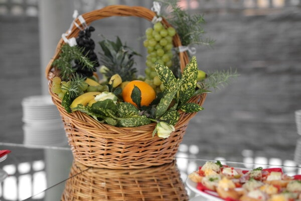 decorative, wicker basket, fruit, food, buffet, table, basket, leaf, delicious, fresh