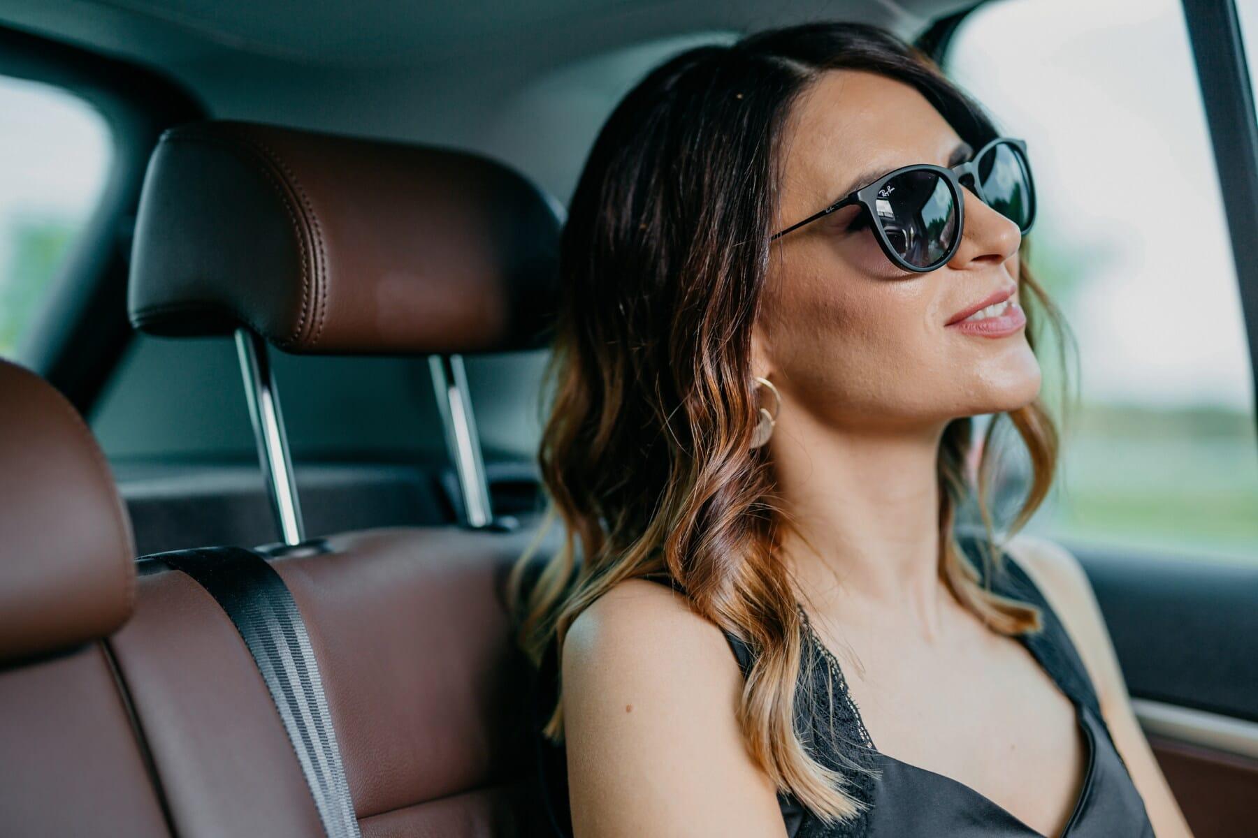 smiling, pretty girl, driving, car seat, passenger, car, sedan, fashion, seat belt, woman