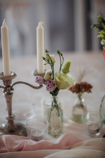 candles, white, candlestick, fancy, silver, elegant, candle, glass, still life, flower