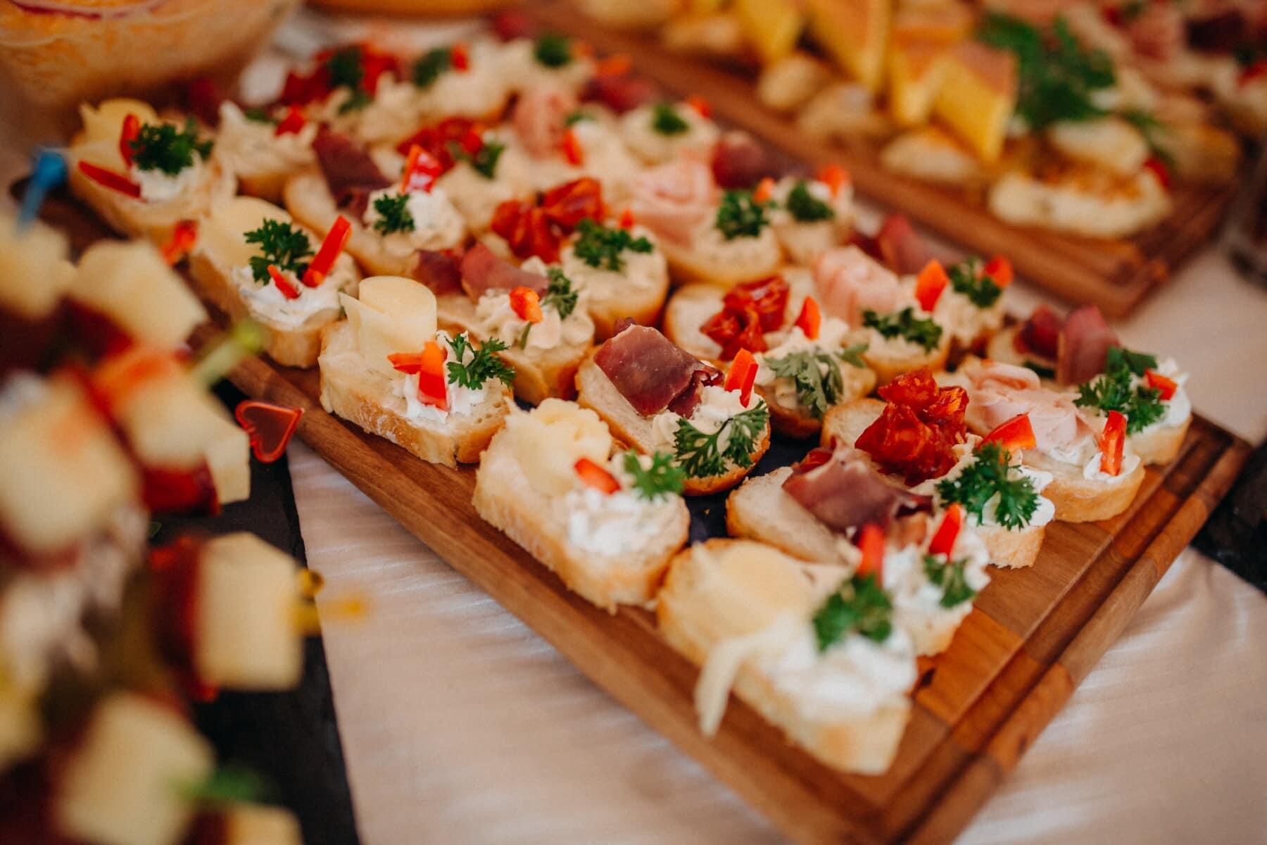 miniature, sandwich, jambon, fromage, snack, buffet, apéritif, déjeuner, délicieux, dîner