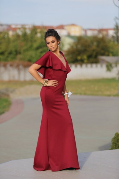 елегантност, хубаво момиче, лейди, червен, рокля, мода, блясък, фантазия, представляват, фото модел