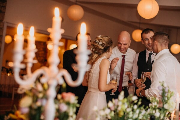 party, fancy, smile, togetherness, hotel, people, champagne, groom, wedding, candle