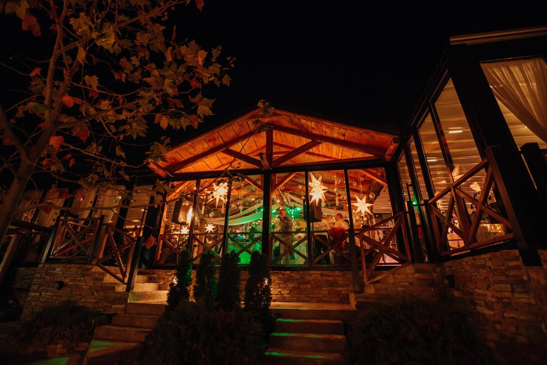 kehidupan malam, Di luar ruangan, klub malam, kantin, partai, Restoran, cahaya, struktur, bangunan, rumah kaca