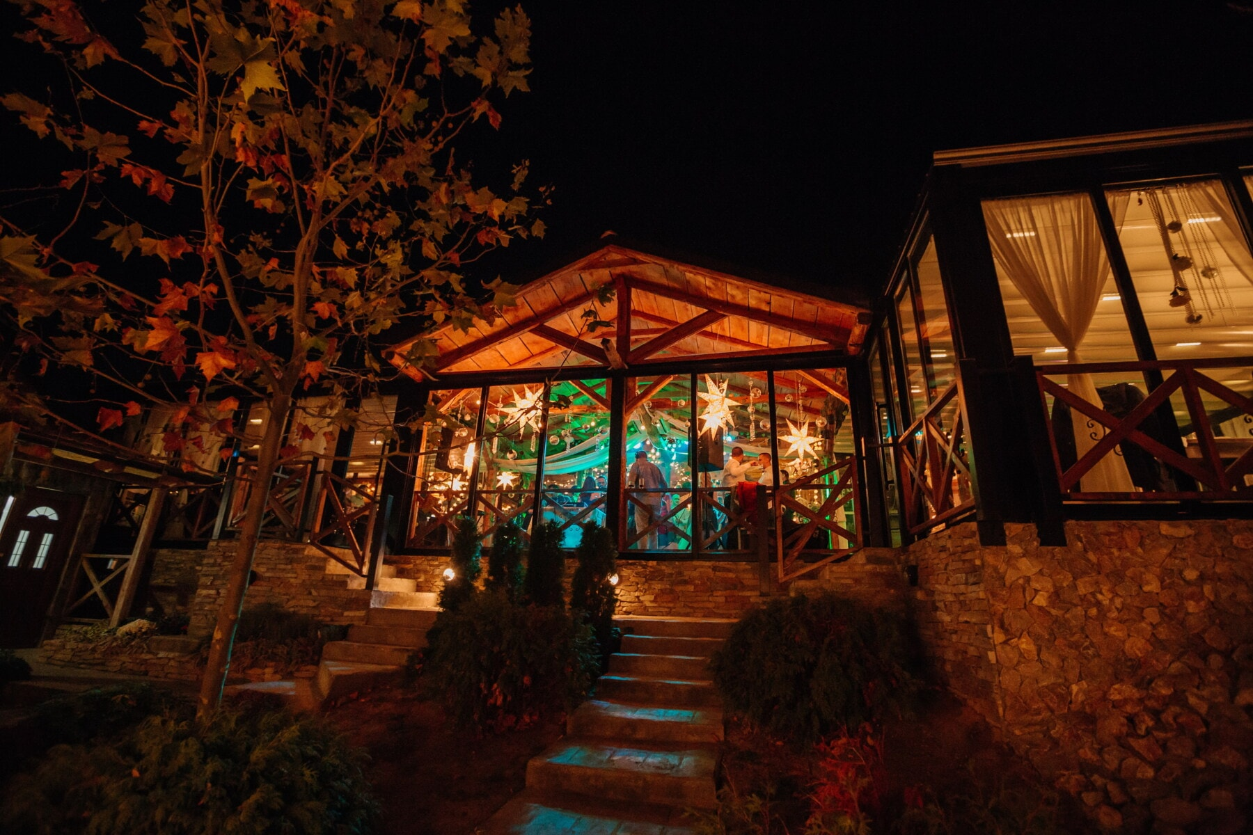 party, cafeteria, night, exterior, light, building, house, home, wood, architecture