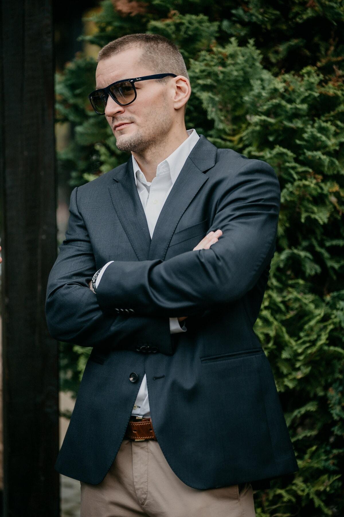 άνθρωπος, όμορφος, φωτογραφία μοντέλο, θέτοντας, Διαχείριση, εμπιστοσύνη, επιχειρηματίας, γυαλιά ηλίου, γενειάδα, ένδυμα