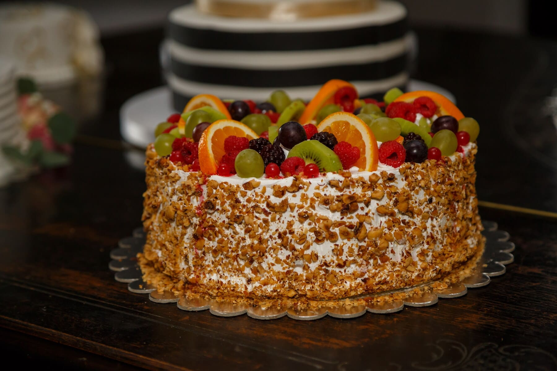 zeste d'orange, myrtille, gâteau, framboise, noyer, fruits, agrumes, dessert, doux, alimentaire