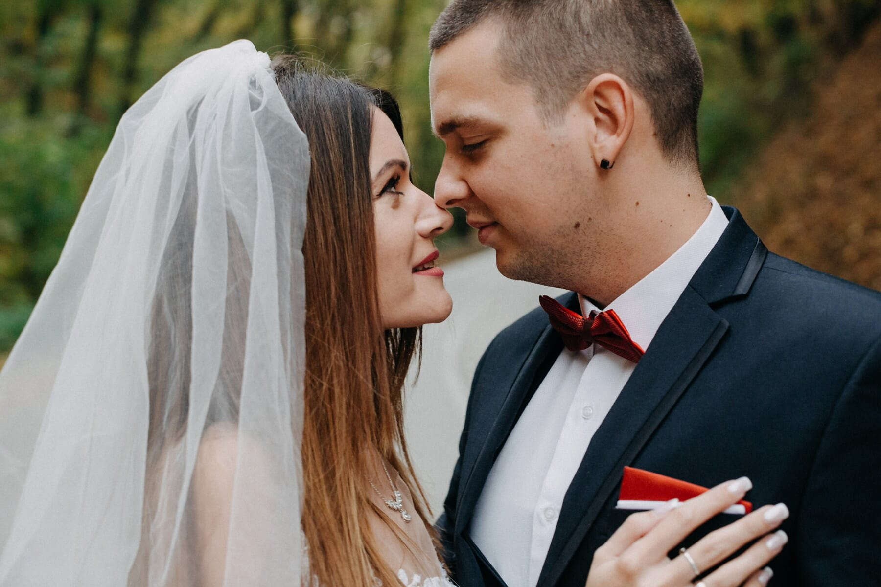 marriage, partners, just married, kiss, veil, bride, tenderness, suit, wedding, love