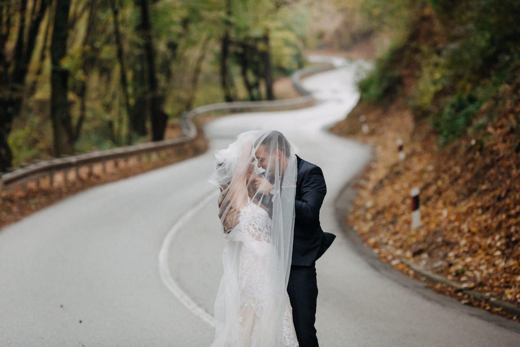 asphalt, newlyweds, forest road, wedding, bride, road, street, blur, nature, outdoors