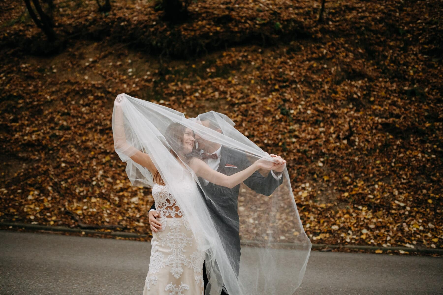 just married, autumn season, road, asphalt, container, bride, plastic bag, wedding, girl, woman