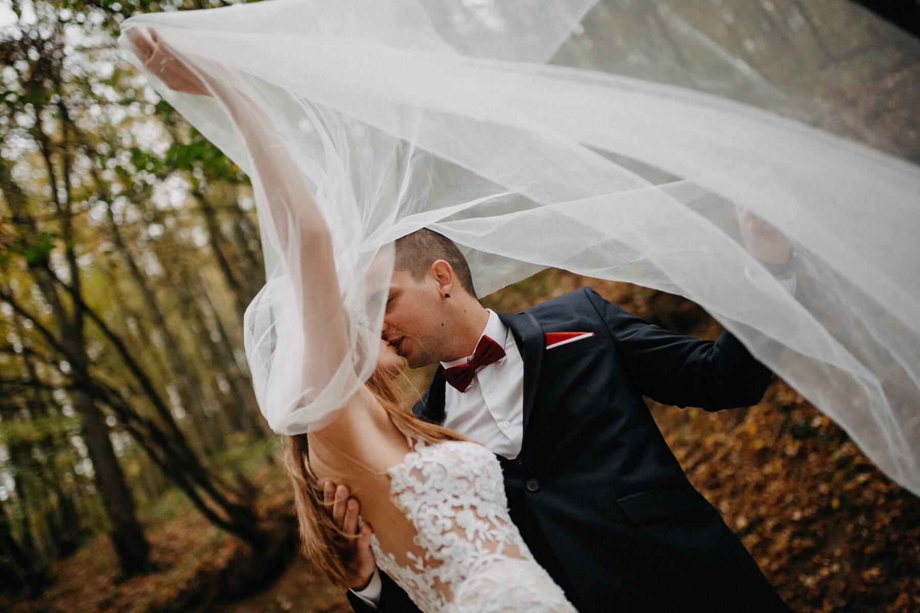 lady, gentleman, underneath, kiss, wedding dress, love, bride, groom, wedding, woman