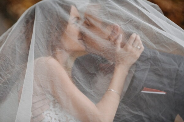 love, hug, lover, love date, tenderness, hiding, underneath, veil, bride, wedding