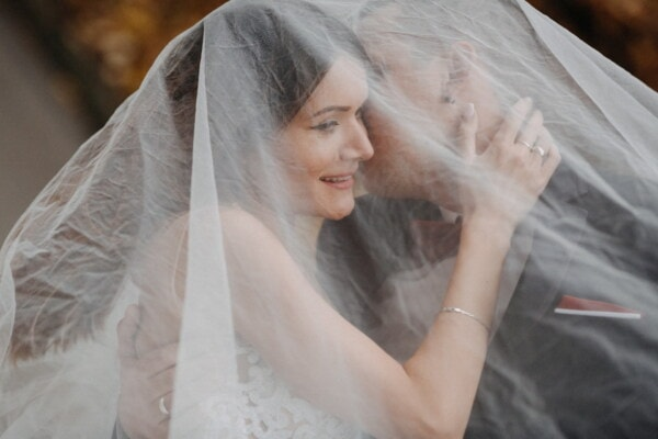 wife, elegant, couple, husband, marriage, wedding, woman, bride, groom, veil